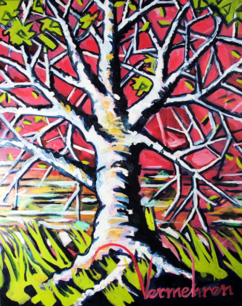 "Vermehren ""Oak Tree in Quinacridone Red & Prussian Blue"""